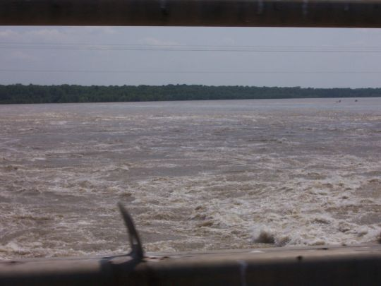 Mississippi River water flowing through the Morganza Spillway