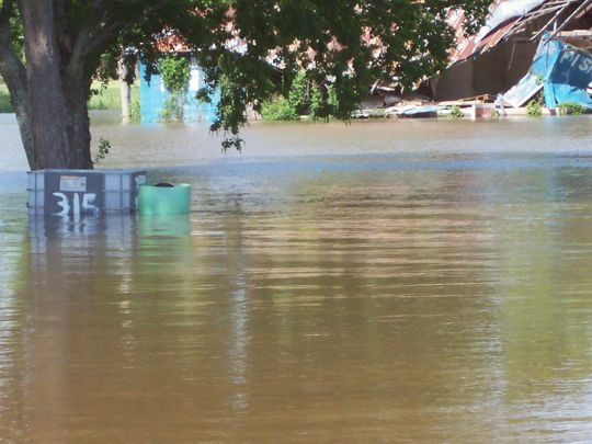 Homes submerged in Atchafalaya River water in Simmesport